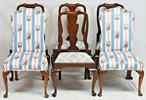 Set Of Six Henkel Harris Mahogany Dining Room Chairs Blue Damask Fabric 110