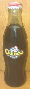 COCA-COLA ~ 1998 ~ QUINCY'S ~ 25-YEAR ANNIVERSARY ~ 8 OZ. BOTTLE ~ SCARCE FIND!