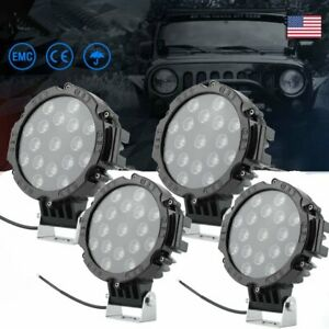 4x 51w 7 Round Led Work Light Spot Driving Lamp Car Jeep Offroad Atv 12v24v