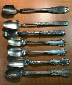 7 Pc Antique To Vintage Silverplated Cheese Scoops Rogers Wallace