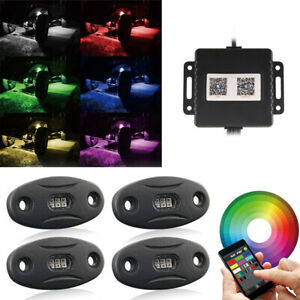 4x Underbody Neon Pods Rgb White Led Rock Lights For Offroad Chevrolet Ford Atv