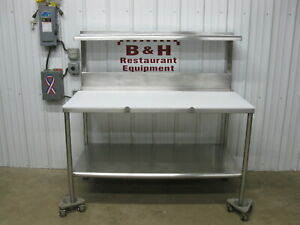 58 1 2 Stainless Steel Butcher Cutting Board Poly Top Table W Shelf 5 X 30