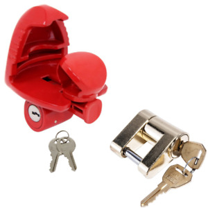 Lock Trailer Coupler Tongue Latch Hitch Set Rv Boat Trailer Security Anti Theft