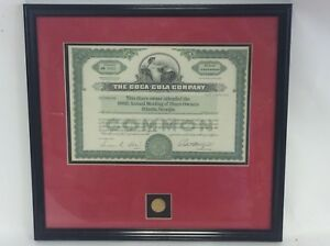 Coca-Cola 100th Shareholder Meeting Certificate  Framed  and Numbered - Original