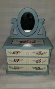 Vintage Childs Painted Wooden Doll 3 Drawer Dresser With Mirror Photo Frame