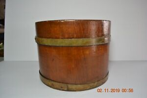 Primitive Wood Grain Dry Measure Wooden Bucket Pail With Two Bands