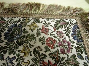 Vintage Grand Piano Shawl Tablecloth Silk Brocade Fringes Gorgeous Textile