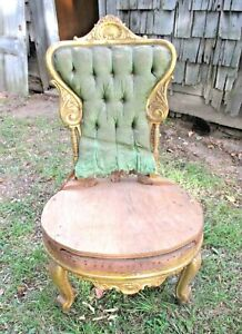 Antique 19th Century Carved Gilt Wood Upholstered Victorian Side Shair