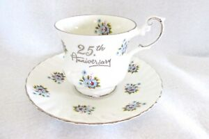 Rosina Fine Bone China England Teacup And Saucer 25 Yr Anniversary