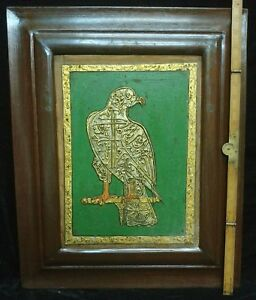 Antique Islamic Calligraphy Bird Painting Embossed Gold Work Ottoman Decor