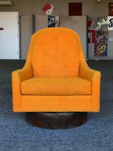 Vintage Midcentury Modern Swivel Barrel Back Chair Attributed To Adrian Pearsall