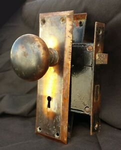 Cleaned Antique Vintage Yale Copper Steel Interior Door Lockset Knob Plate Lock