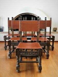Antique Vintage Spanish Revival Leather Chair Set Of 6 Chairs Dining Chairs