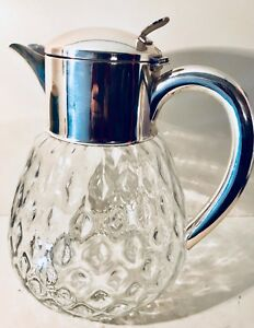 Vintage Silver Plated Crystal Glass Pitcher Decanter Hans Knabel Germany