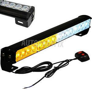 18 In Led White Amber Yellow Bar Emergency Truck Strobe Flash Light Warning