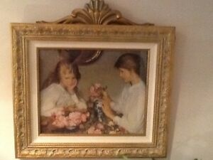 Beautiful Victorian Shabby Chic Picture With Gold And Canvas Frame