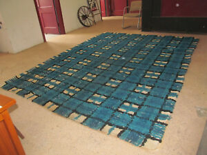Mid Century Danish Modern Rya Style Shag Rug Abstract Mod Area Carpet