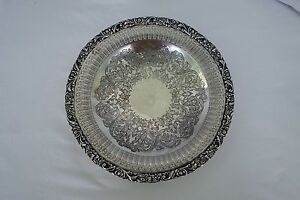 Old English Reproduction Silverplate Pierced Silver Ornate Platter