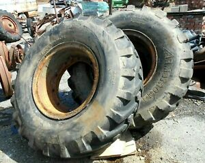 Two Payloader Or Backhoe Tires With Wheels 1400 24 Armstrong Everest 12 Pl