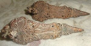 Vintage Old Collectible Copper South Indian Yali Face Dagger Knife Handle Pair