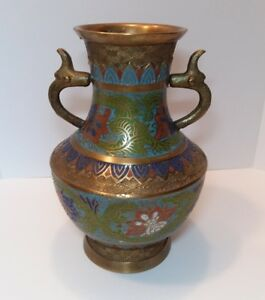 Vintage Japan Brass Enamel Cloisonne Vase Urn Carved Blue Green Red Flowers 8