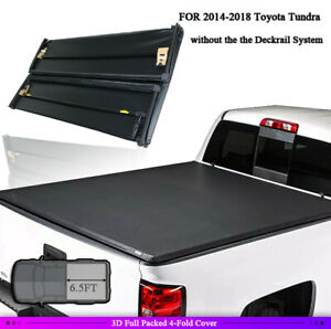 6 5ft 4 Fold Bed Tonneau Cover For 14 18 Toyota Tundra Limited Platinum Extended