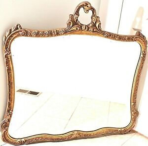 Ornate Antique Mirror Gold Gilt Frame French Louis Xv Style Flowers Heavy Wood