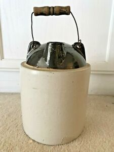 Vintage Antique Stoneware Water Jug W Wire Bail Crock Tan Brown