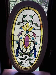 Antique American Stained Glass Oval Window Original