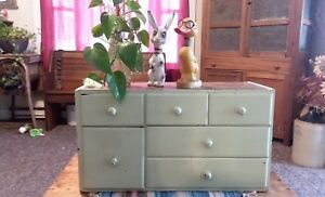 Primitive Antique Chubby Apothecary Vtg 6 Draw Spice Cabinet Kitchen Cubby Aafa