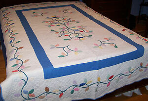 Antique Hand Appliqued Tree Of Life Quilt Expert Hand Quilting 7 8 Sti C1930
