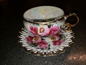 Royal Sealy China Reticulated Rose Floral Gold Ring Tea Cup Saucer Set Japan