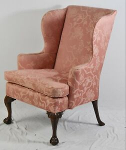 Kittinger Williamsburg Chippendale Mahogany Wing Chair Cw 104 Claw