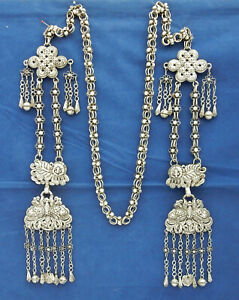 Old Chinese Silver 8 Court Necklace With Butterfly And Foo Dog Shape Pendants