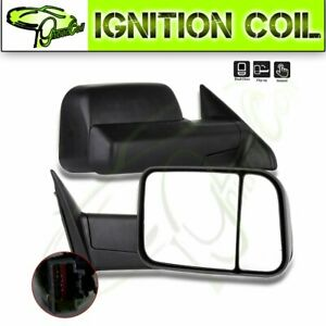 Black Manual Towing Side View Mirrors Pair For 2009 2015 Dodge Ram Truck Pickup