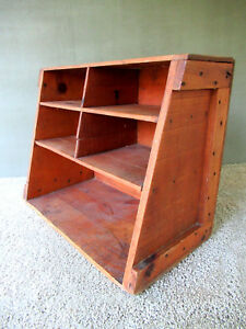 Antique Wall Shelf Military Box Primitive Wood 16 T X 20 W Desk Top Organizer
