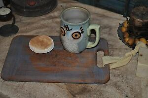 Vintage Worn Dough Board Serving Board Candle Setter Primitive Robins Egg Blue