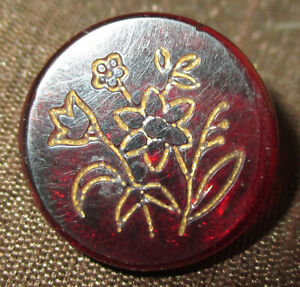Antique Ruby Red Amber Amberina Glass Button W Incised Gold Luster Flowers