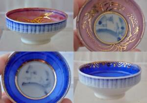 Japanese Sake Cups Bowls Lot Of Two Blue Pink Gold Marked 2 5 Dia