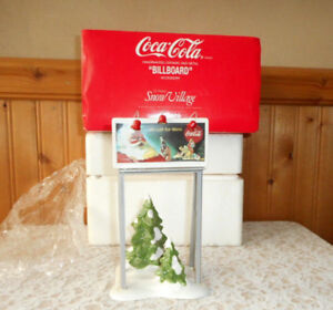 BILLBOARD DEPT. 56 COCA COLA SNOW VILLAGE CERAMIC AND METAL ACCESSORY WITH BOX