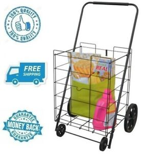 New Black 4 Wheel Jumbo Folding Shopping Cart Grocery Wheeled Carrier Container