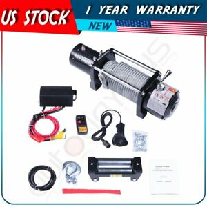 10000lbs 4wd Off Road Electric Recovery Winch Steel Rope 12v For Jeep Cherokee