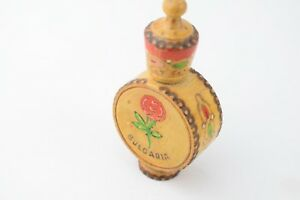 Vintage Perfume Holder Needle Sewing Wooden Rose Motif Painted Case Bulgaria Old