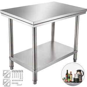 2x3ft Stainless Steel Work Bench Food Prep Kitchen Table Top 60x90cm