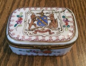 Antique French Trinket Box Hand Painted Porcelain Coat Of Arms Signed Confido