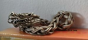 Antique Age Chinese Dragon Bracelet Marked Silver Untested Metal 109 G