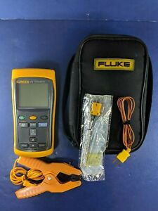 Fluke 52 Ii Thermometer Excellent Screen Protector Soft Case Clamp More