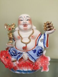 Large Porcelain Laughing Happy Buddha Sitting On Koi Fish 11 5