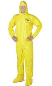 box Of 4 Dupont Tychem Hooded Personal Safety Protective Coverall Size 2x