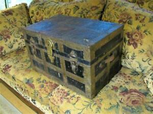 Small Unusual Antique Trunk Chest Rivets Iron Tin Bands Flat Top Logging Camp